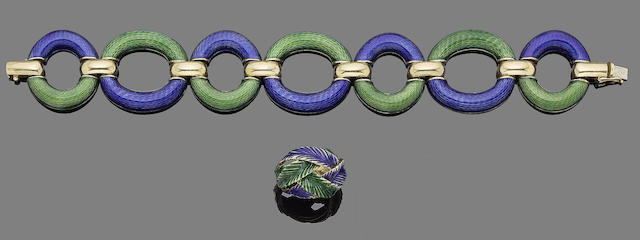 An enamel bracelet, by Jean Eté and an enamel ring (2)