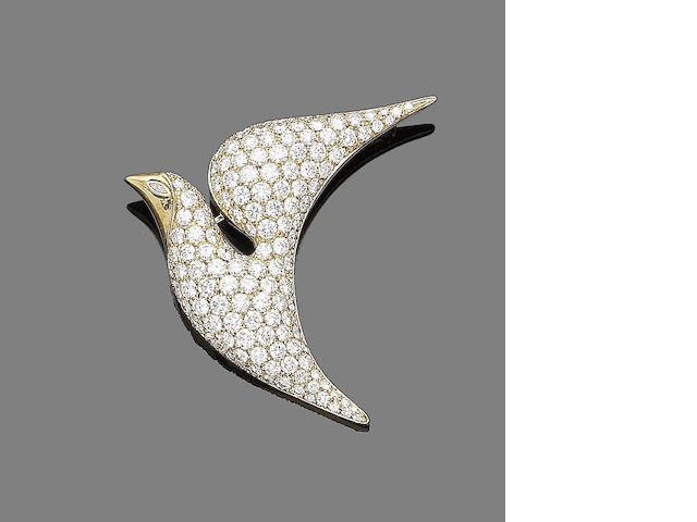 A diamond bird brooch