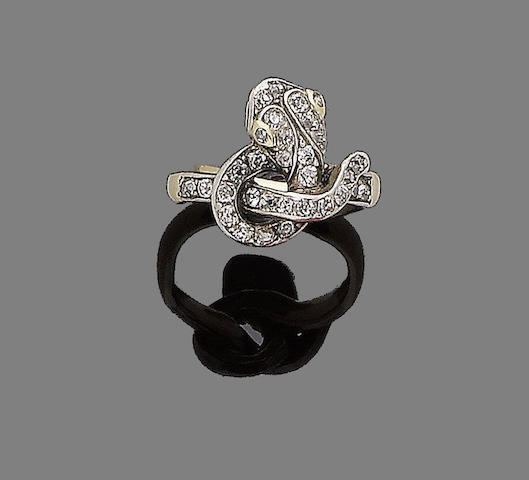 A mid 19th century diamond snake ring