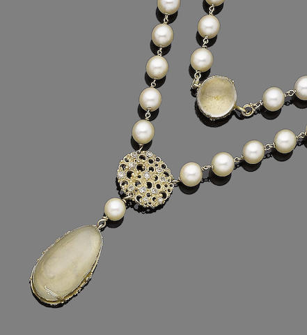 A cultured pearl, moonstone and diamond pendant necklace, by Gerda Flöckinger