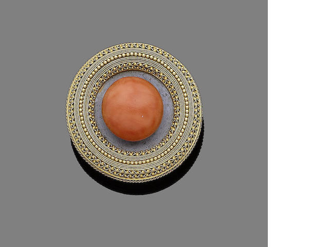 A mid 19th century coral brooch