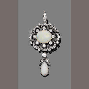 An opal and diamond pendant necklace,