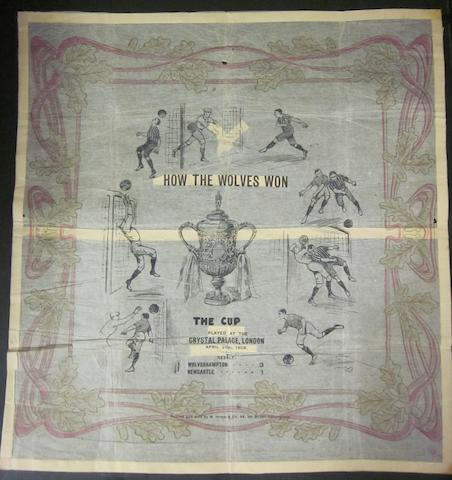 1908 Wolverhampton Wanderers 'How Wolves Won the Cup' napkin