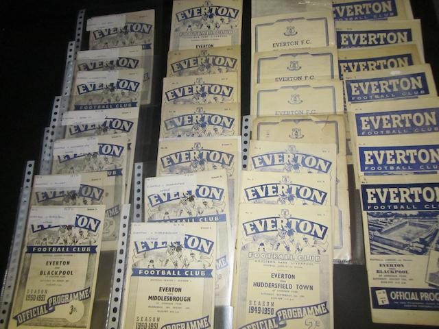A collection of 1940's/early 1950 Everton home programmes