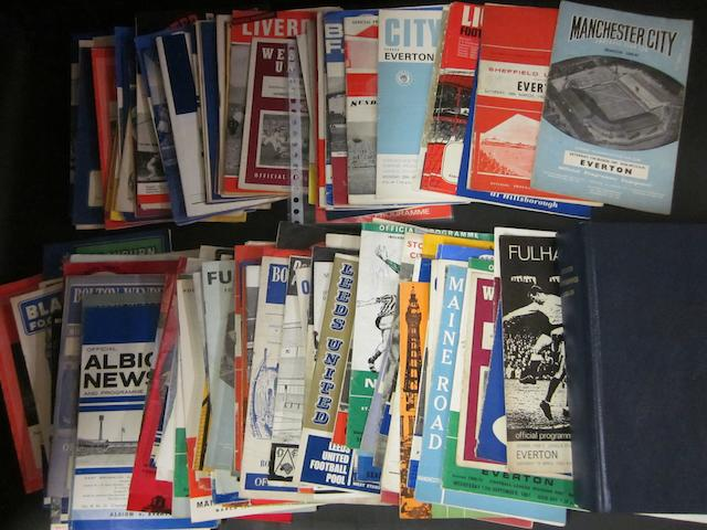 A collection of 1950's to 1990's Everton programmes
