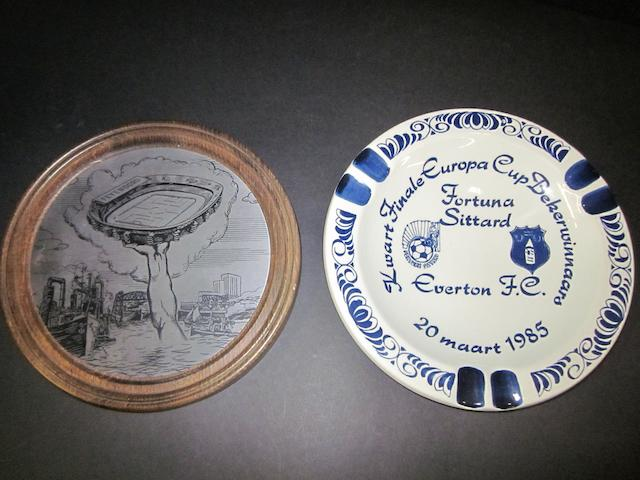 European mementoes presented to Everton players/officials