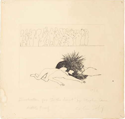 Colin Self (British, born 1941) Illustration for 'In the Desert' by Stephen Crane Etching, 1963, on wove, with wide margins, signed, dated, titled and inscribed 'Artist's Proof' in pencil, 148 x 193mm (5 3/4 x 7 5/8in)(PL) unframed