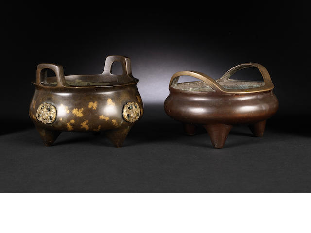 Two tripod incense burners