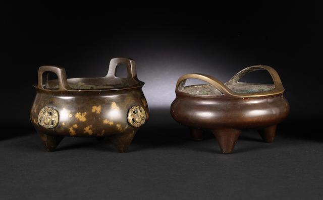 Two tripod incense burners