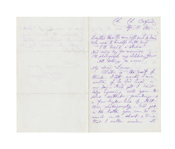 DODGSON, CHARLES LUTWIDGE (1832-1898, 'Lewis Carroll') AUTOGRAPH MANUSCRIPT OF AN UNPUBLISHED IMPROMPTU VERSE 'BREATHES THERE THE MAN WITH SOUL SO DEAD...', 1880