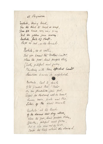 DOWSON, ERNEST (1867-1900) AUTOGRAPH MANUSCRIPT OF HIS POEM 'A REQUIEM', [1893]