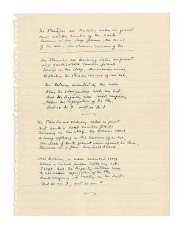 DURRELL, LAWRENCE (1912-1990) AUTOGRAPH DRAFTS OF HIS POEM ['LESBOS']
