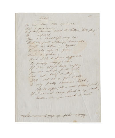 EMERSON, RALPH WALDO (1803-1882, American poet) AUTOGRAPH MANUSCRIPT OF HIS WELL-KNOWN AND WIDELY PUBLISHED POEM 'FABLE'