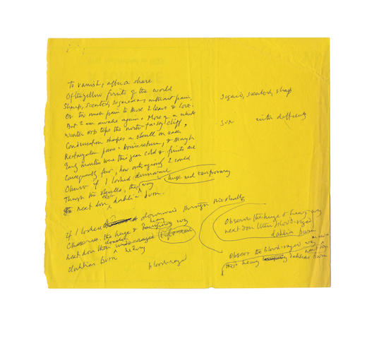 GRIGSON, GEOFFREY (1905-1985) AUTOGRAPH AND TYPESCRIPT WORKING PAPERS FOR HIS POEM 'RED DAHLIAS'
