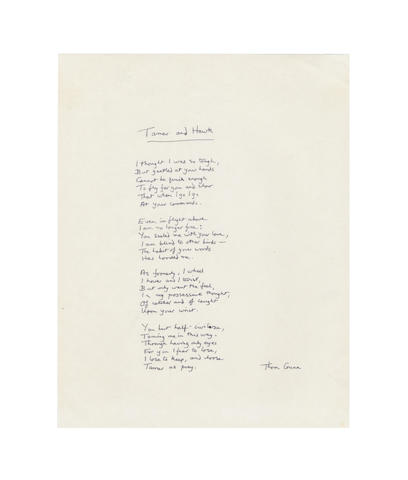 GUNN, THOM (1929-2004) AUTOGRAPH MANUSCRIPT OF HIS POEM 'TAMER AND HAWK'