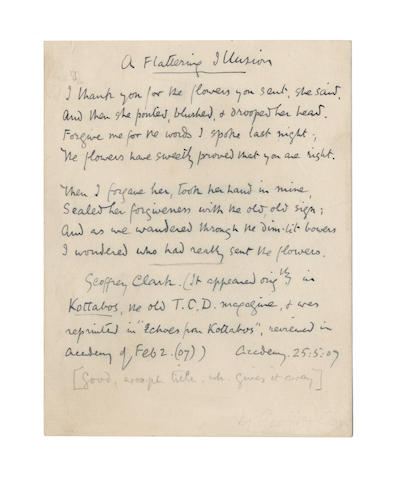 HARDY, THOMAS (1840-1928) AUTOGRAPH TRANSCRIPT BY HARDY OF A POEM BY GEOFFREY CLARK