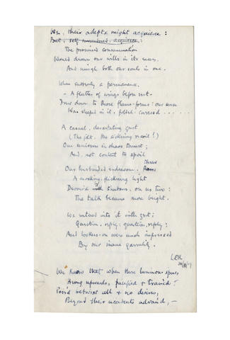 HARTLEY, LESLIE POLES (1895-1972) AUTOGRAPH REVISED MANUSCRIPT OF HIS POEM 'CANDLEMAS', signed, 1919