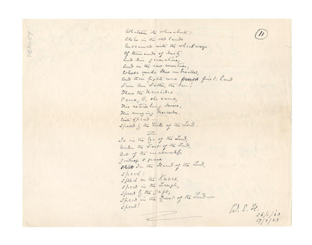 HENLEY, WILLIAM ERNEST (1849-1903) AUTOGRAPH MANUSCRIPT OF THE LAST 26 LINES OF HIS LAST POEM, 'A SONG OF SPEED', 1903