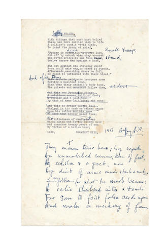 HILL, GEOFFREY (b. 1932) AUTOGRAPH AND TYPED DRAFT OF HIS POEM 'FRAZER', signed, 1952