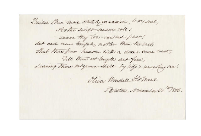 HOLMES, OLIVER WENDELL (1809-1904, American poet) AUTOGRAPH MANUSCRIPT OF THE WELL-KNOWN LAST STANZA OF HIS POEM 'THE CHAMBERED NAUTILUS', 1886