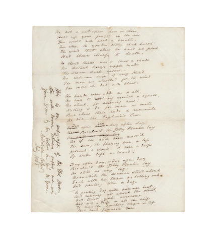 HOOD, THOMAS (1799-1845, the elder) AUTOGRAPH MANUSCRIPTS OF FOUR POEMS