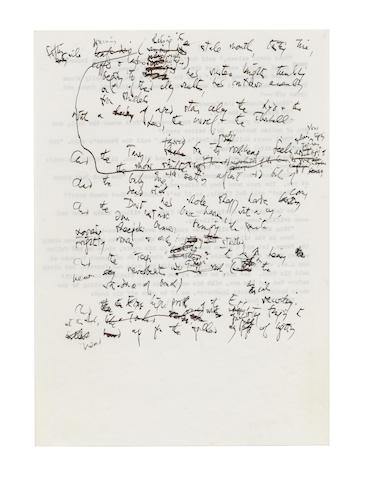 HUGHES, TED (1930-1998) AUTOGRAPH DRAFT AND REVISED TYPESCRIPT FOR THE TITLE POEM OF HIS 'LAUREATE POEMS', [RAIN CHARM FOR THE DUCHY A BLESSED, DEVOUT DRENCH FOR THE CHRISTENING OF HIS ROYAL HIGHNESS PRINCE HARRY], 1984