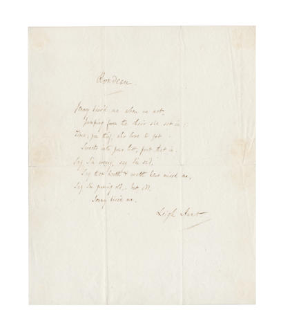 HUNT, LEIGH (1784-1859) AUTOGRAPH MANUSCRIPT OF HIS CELEBRATED 'RONDEAU' BEGINNING 'JENNY KISS'D ME WHEN WE MET...', signed [c.1834]