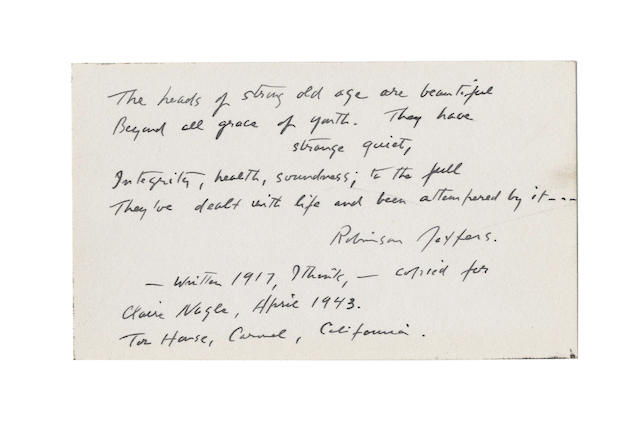 JEFFERS, ROBINSON (1887-1962, American poet), (i) PORTRAIT BY CARL VAN VECHTEN (1880-1964), dated 9 July 1937; ii) AUTOGRAPH POETICAL QUOTATION SIGNED ('Robinson Jeffers'), 1943 (2)