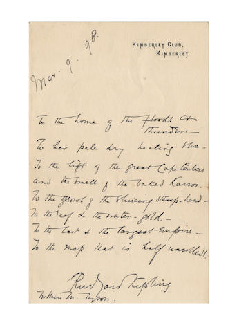 KIPLING, RUDYARD (1865-1936) AUTOGRAPH MANUSCRIPT OF PART OF STANZA 10 OF THE POEM 'THE NATIVE-BORN', signed, 1898