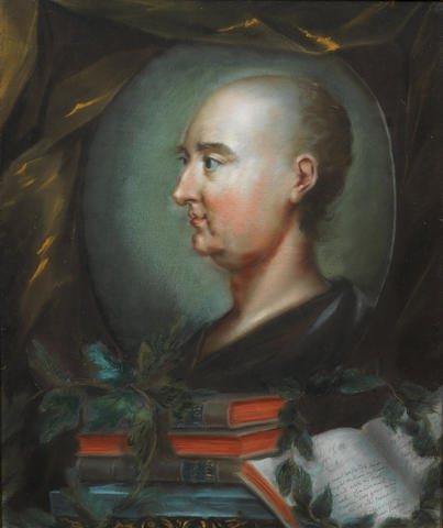 SWIFT, JONATHAN (1667-1745), PORTRAIT BY RUPERT BARBER, A PREVIOUSLY UNKNOWN VERSION, IN A FINE CONTEMPORARY ARCHITRAVE GILT FRAME, [c. 1744/1745]