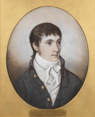 CAMPBELL, THOMAS (1777-1884, Scottish poet), (i) PORTRAIT BY MESSRS BLOMFIELD OF HASTINGS AFTER A MINIATURE, [original c. 1798; reproduction ?c.1870] (ii) PORTRAIT BY JAMES GODBY AFTER THOMAS LAWRENCE, not dated (2)