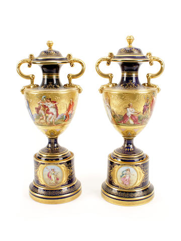 A pair of Vienna-style vases and covers, circa 1900