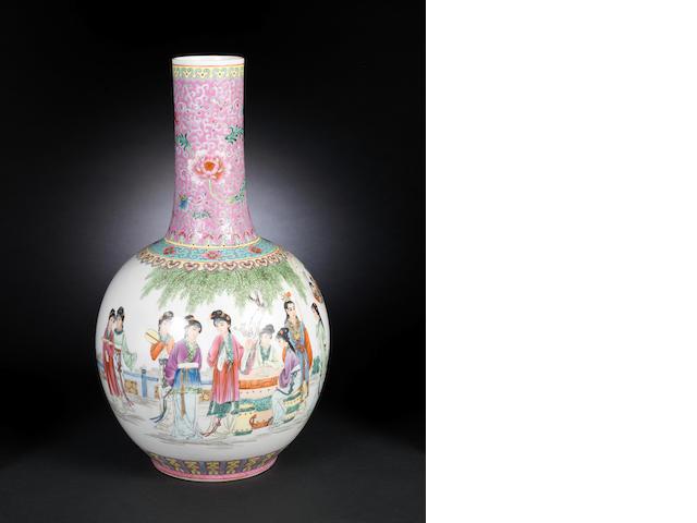 A famille rose vase Qianlong six-character mark