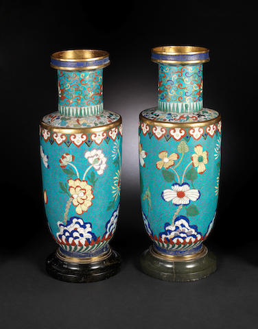 A pair of cloisonné enamel vases 19th century