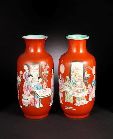 A near pair of famille rose vases 20th century, Qianlong four-character marks