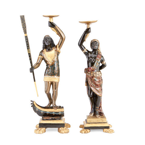 A pair of small Italian Figures, carved gilt and painted Blackamores, 19th century