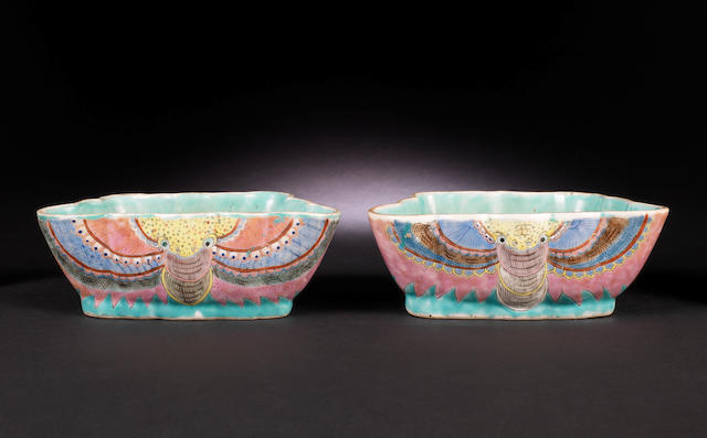 A near pair of famille rose 'butterfly' deep bowls 19th century, Tongzhi six-character seal marks