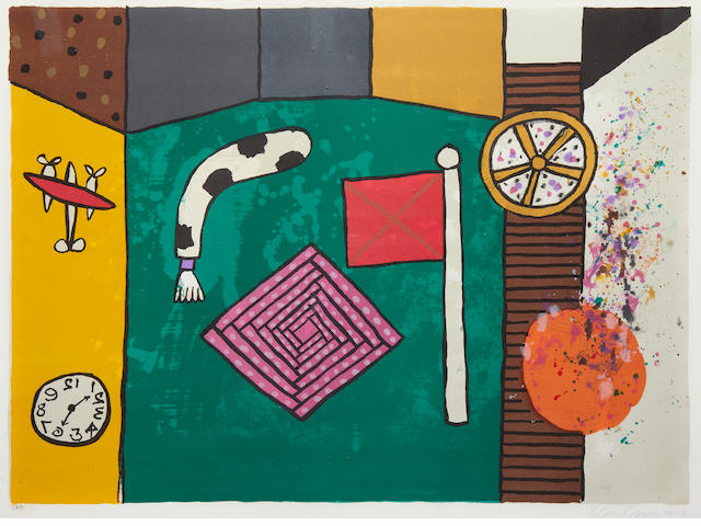 Alan Davie CBE HRSW (British, born 1920) Flag, clock and motifs lithograph, 1977, signed, dated and numbered 388/500 in pencil, 540 x 740mm (21 1/4 x 29in)(I)