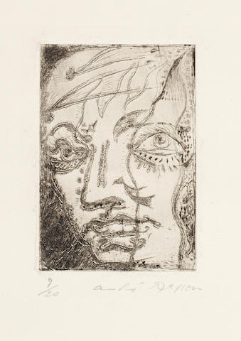 André  Masson (French, 1896-1987) Portrait of Baudelaire Etching, 1923, on wove, signed and numbered 9/20 in pencil, with wide margins, 78 x 55mm (3 1/8 x 2 1/8in)(PL)
