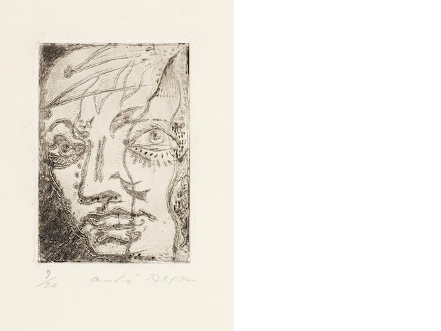 André  Masson (French, 1896-1987) Portrait of Baudelaire Etching, 1923, on wove, with wide margins, signed and numbered 9/20 in pencil, 78 x 55mm (3 1/8 x 2 1/8in)(PL)