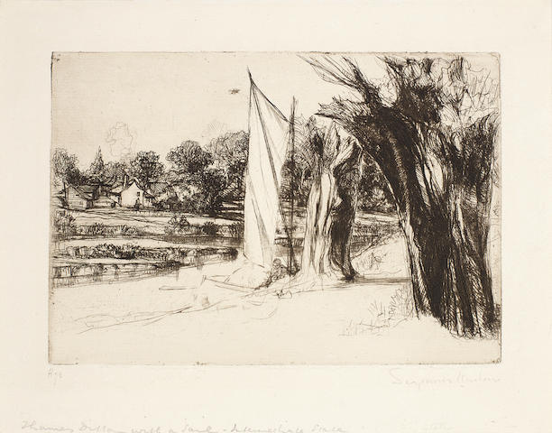 Francis Seymour Haden (British, 1818-1910) Thames Ditton - with a sail Etching, 1864, intermediate state between the first and second, with the hull of the boat defined, but before the 'Thames Ditton' inscription added, with a reduced plate size, signed in pencil, on laid, 140 x 205mm (5 1/2 x 8 1/8in)(PL), plus an etching by Joseph Pennell, 'The Pavement of St Pauls', 1905, on laid, signed in pencil 2 unframed