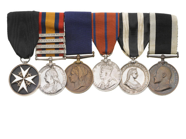 An Order of St.John group of six to Superintendent F.H.Oldham, St.John Ambulance Brigade,