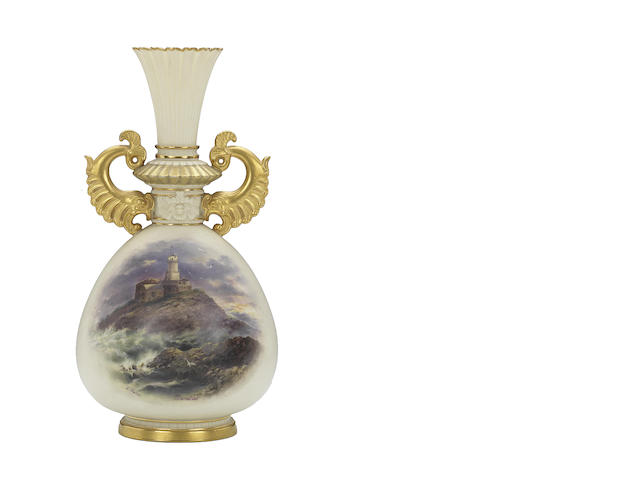 A Royal Worcester vase by Edward Salter, dated 1892