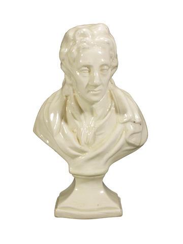 A creamware bust of Milton, circa 1780