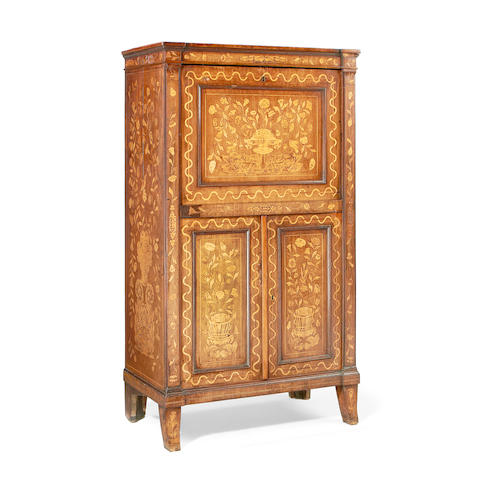 A Dutch mid 19th century mahogany and fruitwood marquetry secretaire à abattant