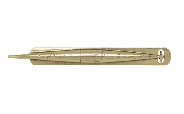 A Victorian gold novelty 'torpedo' propelling pencil by W J Thomas, with registration kite,