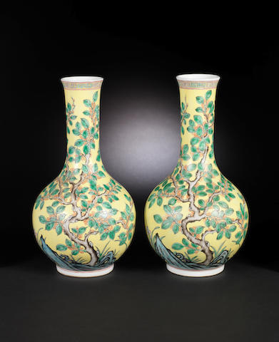 A pair of famille rose globular vases Qianlong six-character seal marks