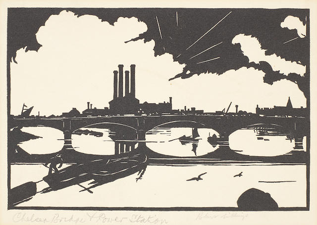 Robert Gibbings (Irish, 1889-1958) Three woodcut views of London  Chelsea Bridge and Power Station, London Bridge today, New Soouthwark Bridge, all on wove, each signed in pencil,  3 unframed