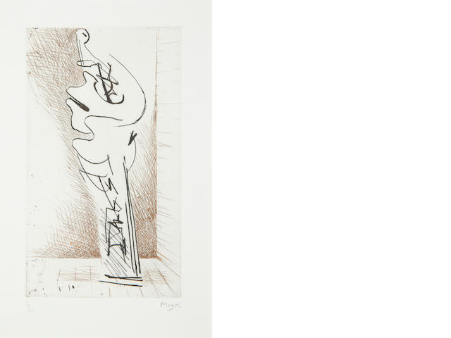 Henry Moore O.M., C.H. (British, 1898-1986) Turning figure I (Cramer 175) etching, 1971, signed and numbered 4/50 in pencil, published by Gerald Cramer, 232 x 135mm (9 1/4 x 5 1/2in)(PL)