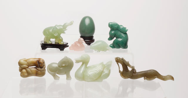 A 'menagerie' of nine small, stone, quartz or other animals